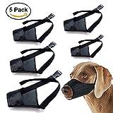 Dog Muzzle Nylon Set(5 IN 1) Adjustable Breathable Safety for Small Medium Large Extra Dog Anti-biting Anti-barking Anti-chewing Safety Protection(Black) (Black)