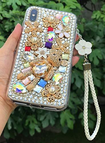 (Unique 3D Handmade Teddy Bear Crystal Sparkling Diamond Rhinestones Floral Pearl Fashion Design Shiny Case for iPhone Xs)
