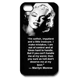DIY Cover Case with Hard Shell Protection for Iphone 4,4S case with Marilyn Monroe Quotes lxa#908498