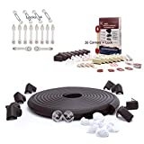 SafeBaby & Child Proofing 23.2ft Edge /16 Corners Baby proofing Present Set +14 Locks Kit +26 Corner Guards childproofing Gift Pack. Clear Protective Bumpers Fridge/Toilet Lead Lock.Black White Brown