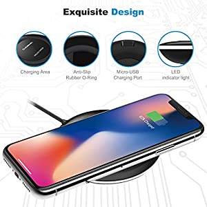 iPhone X Wireless Charger, Cubevit Qi Wireless Charging Pad Stand for Apple iPhone 8 iPhone 8 Plus Samsung Galaxy Note 8 S8 S8 Plus S7 S7 Edge Note 5 S6 Edge Plus and other Qi devices - No AC Adapter