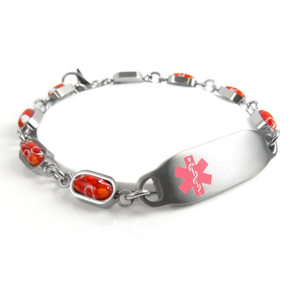 My Identity Doctor Pink Red Millefiori Glass Pre-Engraved /& Customized Diabetes Type II ID Bracelet