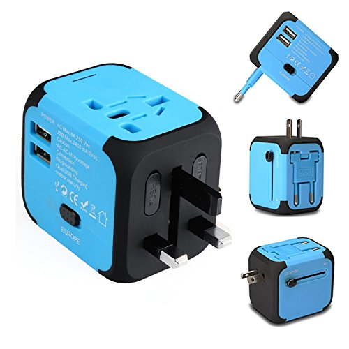 Ailuner Travel Adapter,Worldwide Power Converters Universal World Travel Plug Adapter with 2.4A Dual USB Charger & Worldwide AC Wall Outlet Plugs for USA EU UK AU. (Blue) by Ailuner