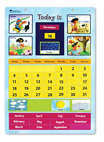 Learning Resources Magnetic Learning Calendar, 51 Magnetic pieces & Calendar, Ages - Magnetic Calendar Learning