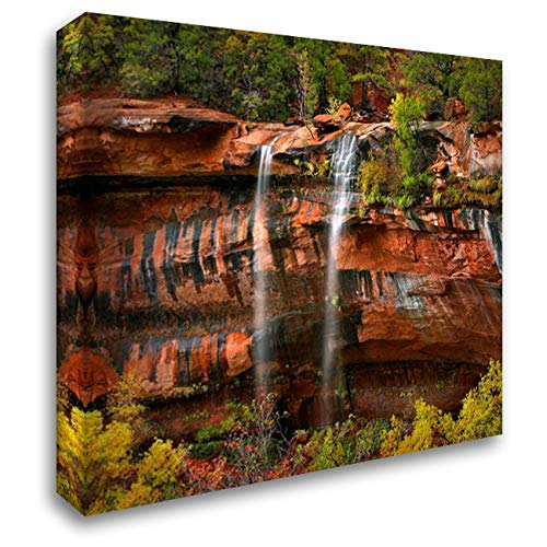 Cascades Tumbling 110 feet at Emerald Pools, Zion National Park, Utah 34x28 Gallery Wrapped Stretched Canvas Art by Fitzharris, Tim ()