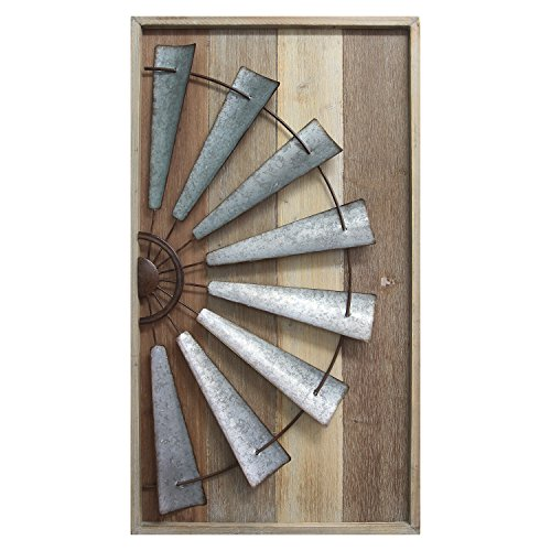 Natural Bronze Mill - Stratton Home Décor S11547 Windmill Wall Décor, Natural Wood/Galvanized Metal/Antique Bronze