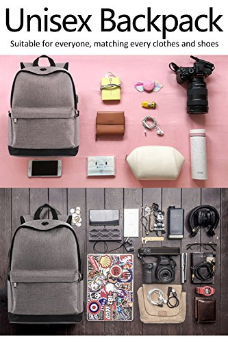 Backpack, Travel Water Resistant School Backpack with USB Charging Port for Women Men, Canvas College Student Bag Bookbag Fits 15.6 Inch Laptop and Notebook, Grey Rucksack Daypack for Outdoor Camping by Vancropak (Image #6)