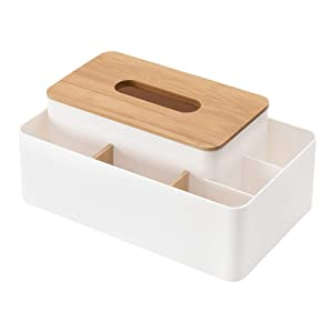 poeland Multifunction Tissue Box Cover Rectangular Facial Tissue Kleenex Holder Dispenser for Dining Room, Kitchen, Bedroom Dressers and Home Décor
