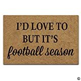 Artswow Funny Door Mat Entrance Floor Mat I'd Love to But It's Football Season Designed Decorative Indoor Outdoor Doormat Enterways Non-Slip Rubber Backing Mat 23.6'X15.7'