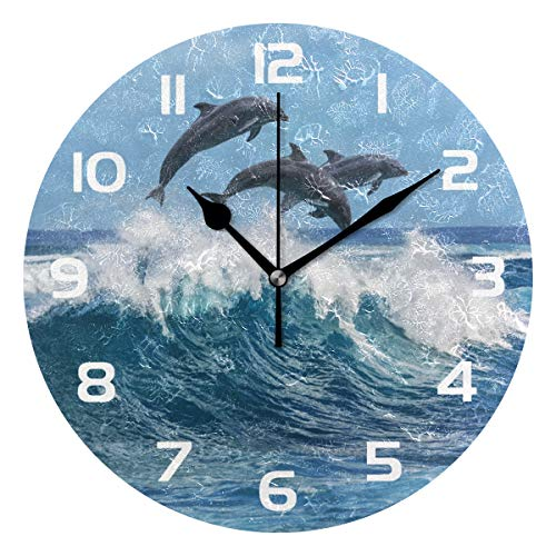 TropicalLife Ocean Sea Animal Jump Dolphin Decorative Wall Clock Acrylic Round Clocks Non Ticking Art Decor Bedroom Living Room Kitchen Bathroom Office School by TropicalLife