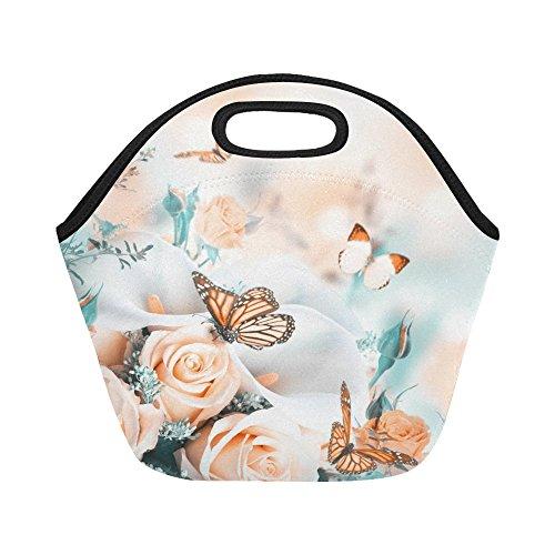 - InterestPrint Insulated Lunch Tote Bag Yellow Roses Butterflies Reusable Neoprene Cooler, Bride Flowers Portable Lunchbox Handbag for Men Women Adult Kids Boys Girls