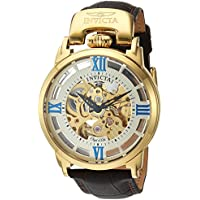 Men's 'Objet d'Art' Automatic Stainless Steel and Leather Casual Watch, Color:Brown (Model: 22614)