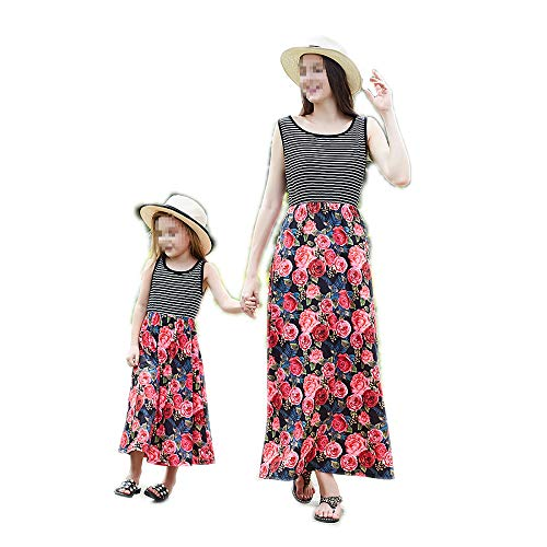 - Mommy and Me Floral Family Matching Stripe Long Maxi Dress Parent-Child Sundress