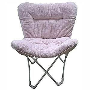 Folding Plush Butterfly Chair, Padded Design Features, Soft Durable Tufted  Fabric Upholstery, Lightweight Metal Frame Chair (Blush)