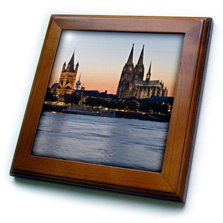 3dRose ft/_81778/_1 Cologne SkyLIne Germany EU10 Dbn0038 David Barnes Framed Tile 8 by 8-Inch Dom Gross St Marin Rhine