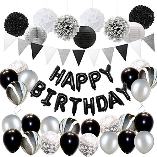 Black and Silver Birthday Party Decorations for Adults Balloons Set, Tissue Paper Decorations and Triangle Flag Banner ()
