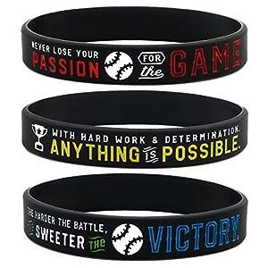 Inkstone Baseball Silicone Wristbands with Motivational Sayings (6-Pack) – Baseball Bracelets Jewelry Gifts