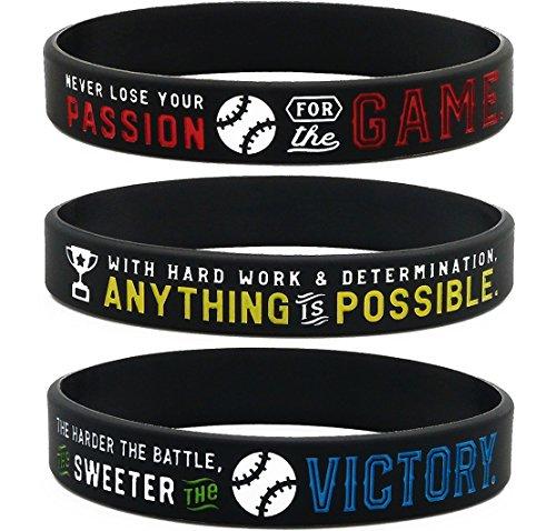 Inkstone Baseball Silicone Wristbands with Motivational Sayings (6-pack) - Baseball Bracelets Jewelry Gifts (Baseball Sayings)