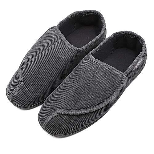 Men's Memory Foam Diabetic Slippers with Adjustable Closures,Extra Wide Width Comfy Warm Plush Fleece Arthritis Edema Swollen House Shoes Indoor/Outdoor (12 M US, Style 2-Dark Gray)