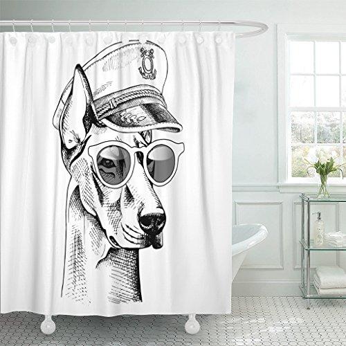 Emvency Shower Curtain Curtainsblack Pinscher Doberman Portrait in Captain Cap with Sunglasses Navy Anchor Animal Extra Long 72