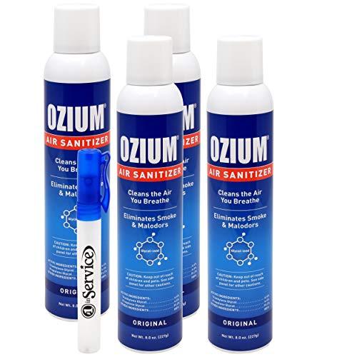 Ozium Air Sanitizer Spray - Glycolized Air Freshener Reduces Airborne Bacteria Eliminates Smoke & Malodors 8oz Spray Air Freshener, Original (4 Pack) Hand Sanitizer -