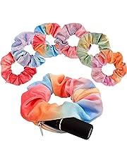 Ahoney 6 Pack Big Velvet Scrunchie with zipper,Tie Dye Scrunchies for Hair with Pocket for VSCO Girls,6 Colors