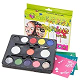 """Face Paint Kit with 30 Stencils, 9 Paints + 2 Glitters """"Original Buggly Kit"""" By Bo Buggles Kids: Large 4 gram Professional Paints, 2 Brushes, 2 Sponges. Pro-Quality Non-Toxic Face Painting Palette"""