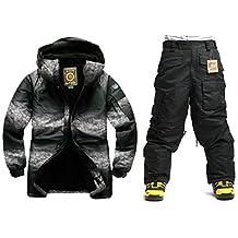 Southplay mens waterproof ski-snowboard Twotone Military Jacket+Black Pants set