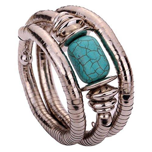 ZHUOTOP Women Bohemian Shiny Tibetan Turquoise Beads Bangle Multi Layer Snake Chain Bracelet - Snake Turquoise Bracelets