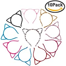 Exacoo 10 Pack Cat Ear Headband Hair Hoop Hair Band Makeup Headwear Fashion Headbands For Daily and Party, 10 Colors