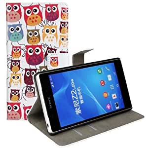 Einzige Slim Fit Leather Case Cover with Stand & Card Slot for Sony Xperia Z2 with Free Universal Screen-stylus (Owl Family)