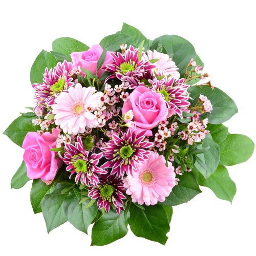 Blumenversand - Blumenstrauß zum Geburtstag - Pink Heart - mit rosa Rosen, rosa Gerbera und Saba Chrysanthemen - mit Gratis - Grußkarte zum Wunschtermin verschicken