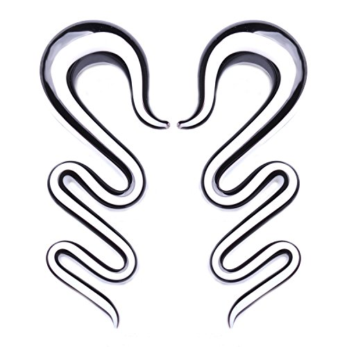 BodyJ4You 2PC Glass Ear Tapers Plugs 0G Black White Handmade Gauges Piercing Jewelry - Plugs Handmade Glass