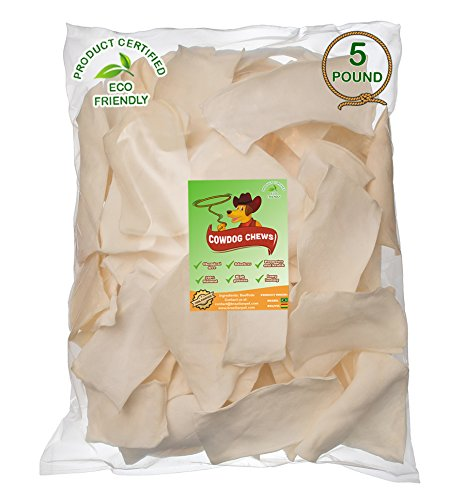 Cowdog Chews Natural Rawhide Chips – Premium Long-Lasting Dog Treats with Thick Cut Beef Hides, Processed Without Additives or Chemicals (5 Pounds)