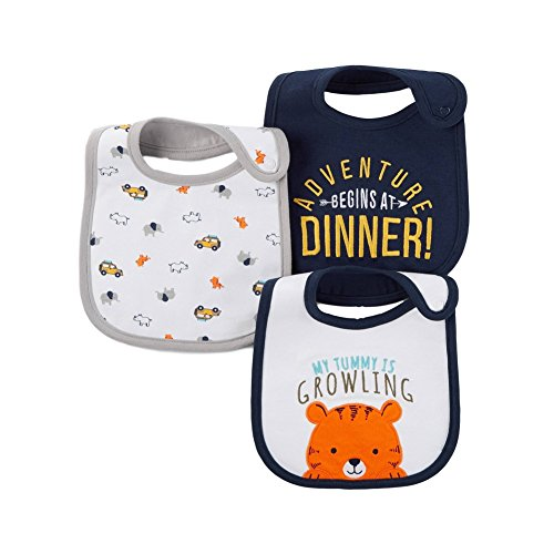 Carter's Just One You Baby Boys' 3 Pack Bib Set (Tiger (Blue )) (1 For You)
