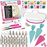 Cakebe 82 pcs Cake Decorating Kit - Cake Decorating Supplies with Cake Turntable - Extended Baking Supplies Kit with 54 Numbered Decorating Tips and Cake Leveler - Includes Pattern Chart