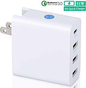 USB Wall Charger,51W 4 Port USB Charging Station, Multiport Quick Charge 3.0 QC 3.0 and PD Speed Wall Charger for iPhone Xs/Max/XR/X/8/7/Plus, iPad Pro/Air 2/Mini/iPod, Galaxy S9/S8/S7/Edge/Plus,