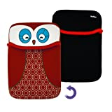 FLIP collection Owl Reversible Neoprene Sleeve Cover for the Amazon Kindle Paperwhite 3G - Red Black