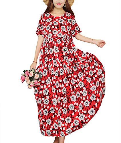 YESNO Women Casual Loose Long Maxi Bohemian Floral Dress Layered Lightweight Summer Beach Short Sleeve Swing Dress/Pockets - Long Dress Floral