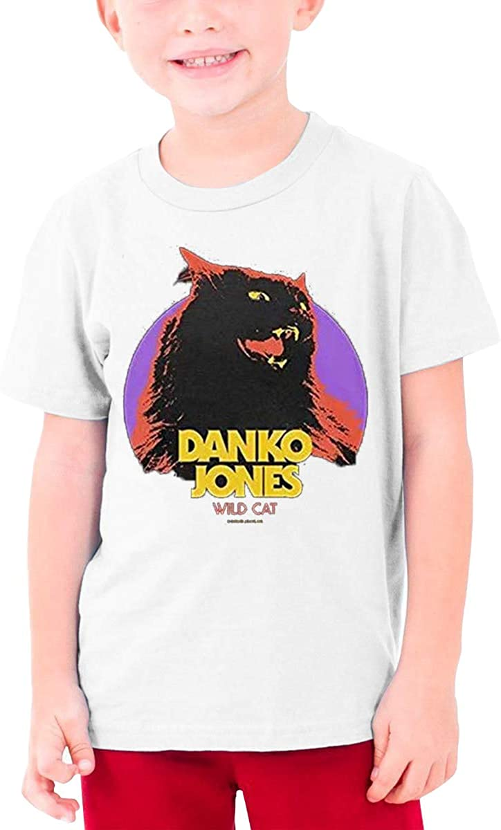 Jaxia Danko-Jones-Wild-Cat KidsCotton Youth Crewneck T-Shirt,Boys and Girls,White