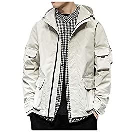 Men's Hooded Over Sized Pocketed Bomber  Jackets Overcoat