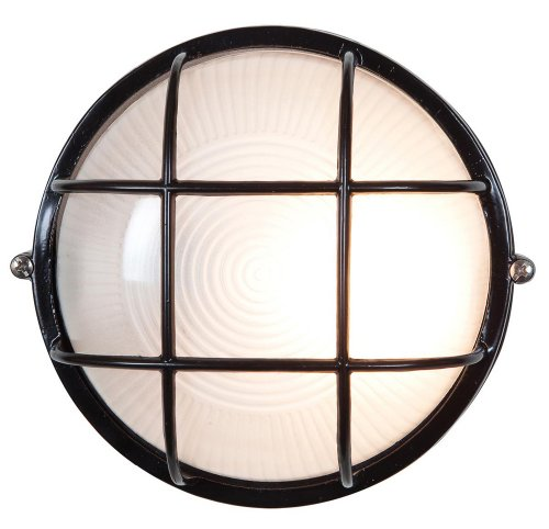 "Nauticus - Round 7""dia Wet Location Bulkhead - Black Finish - Frosted Glass Shade from Access Lighting - HI"