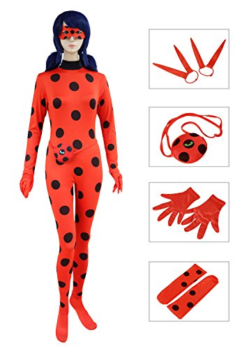 [DAZCOS Women's Red for Ladybug Costume Adult Cosplay Jumpsuit (Medium)] (Red Jumpsuit Costume)