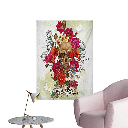 Anzhutwelve Day of The Dead Wall Picture Decoration Skull Dead Head with Flowers Daisies Spanish Festive Tradition CelebrationMulticolor W32 xL36 Poster Print -