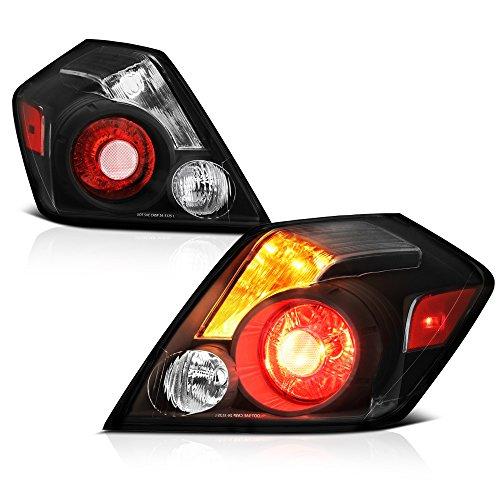 VIPMOTOZ Black Housing Tail Light Lamp Assembly Clear Turn Signal For 2007-2012 Nissan Altima 4-Door Sedan, Driver & Passenger Side