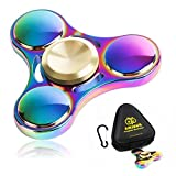 Premium Quality Fidget Spinner Metal Super-Fast & Long Smooth Spin Time 2-6 Minutes Rainbow Multicolor Colorful Zinc Alloy EDC, Best Gift For Stress Relief & Relaxation Adults & Kids With Autism Anxiety Hand Finger Spinner with a BONUS: Zippered Hard Case by Amicus Fidget Spinner