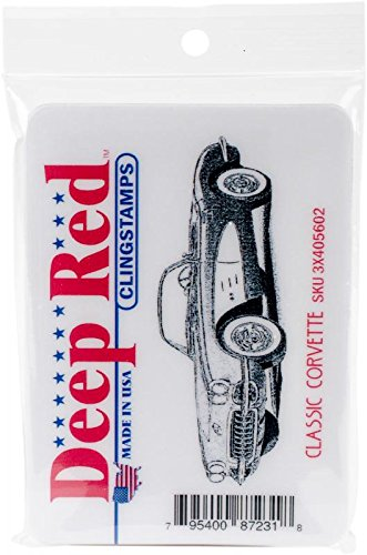 Deep Red Cling Stamp 3.2X1.25-Classic Corvette