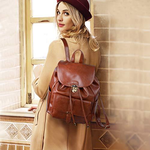marrón Mochila Cuero Mujer Vintage Escolares Casual Mochilas Coofit Bolso qtx78Up