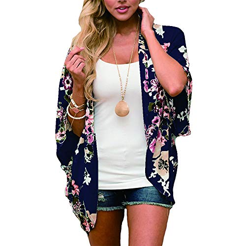 RJXDLT Womens Floral Print Kimono Cardigan Loose Puff Sleeve Cardigans Patchwork Cover Up Blouse Top Navy Blue M - Floral Sleeve Puff Top