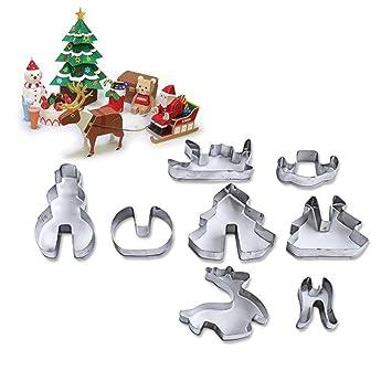 AZX 8 pcs 3D Juego de moldes de Navidad, Moldes para Galletas, Molde Acero Inoxidable para Hornear Galleta de Navidad,Cortadores de Galletas: Amazon.es: ...